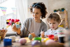 Mother and Child Crafting on Easter royalty free stock photography