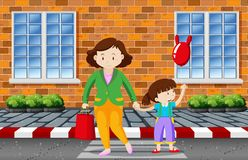 Mother and child crossing the road. Illustration vector illustration