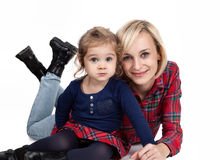 Mother and child cuddling Stock Photo