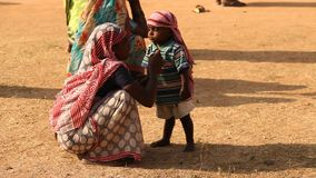 Mother and child in Desert India stock video footage