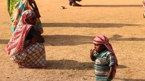 Mother and child in Desert India stock footage