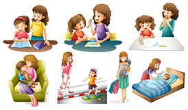 Mother and child in different actions Royalty Free Stock Photography