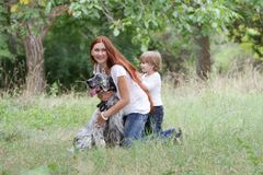 Mother and child with dog outdoors Stock Photography