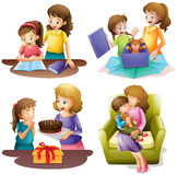 Mother and child doing different activities Stock Photo