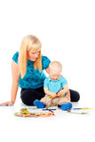 Mother and child draw with pencils Royalty Free Stock Photos
