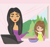 Mother and child eating in a hurry. Vector Illustration Royalty Free Stock Image