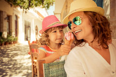 Mother and child eating ice-cream Royalty Free Stock Image