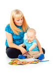 Mother with a child is engaged in drawing Royalty Free Stock Image