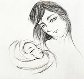 Mother and child family sketch drawing Royalty Free Stock Photography
