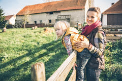 Mother and child on farm Royalty Free Stock Photo