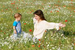 Mother and child in field Stock Photo