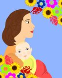 Mother and child flowers Stock Photos