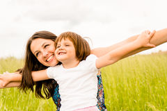 Mother and child flying Royalty Free Stock Photography