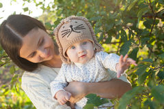 Mother and child in garden Stock Image