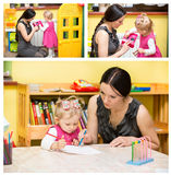 Mother and child girl playing in kindergarten in Montessori preschool. Class stock photo