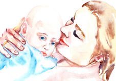 Mother and Child. Hand painted Watercolor Illustration «Mother and Child Royalty Free Stock Images