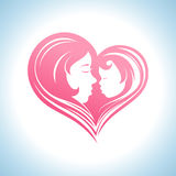 Mother and child heart-shaped silhouette symbol. Royalty Free Stock Image
