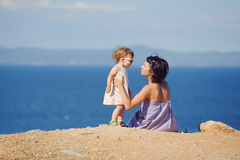 Mother and Child on Hill Royalty Free Stock Images