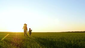 A mother and child hold hands as they run through the green grass at sunset. The concept of a happy family, travel and