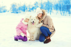 Mother and child hugging white Samoyed dog in winter Royalty Free Stock Photos