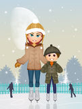Mother and child on ice skate. Illustration of mother and child on ice skate Stock Image