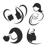 Mother and child icon or logo set. Stock Photo