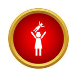 Mother and child icon, simple style Royalty Free Stock Image