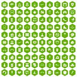 100 mother and child icons hexagon green. 100 mother and child icons set in green hexagon isolated vector illustration Royalty Free Stock Photos