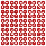 100 mother and child icons hexagon red. 100 mother and child icons set in red hexagon isolated vector illustration Stock Image