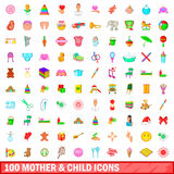 100 mother and child icons set, cartoon style. 100 mother and child icons set in cartoon style for any design vector illustration Stock Images