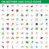 100 mother and child icons set, cartoon style. 100 mother and child icons set in cartoon style for any design vector illustration Stock Photo