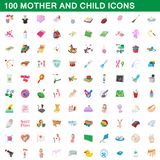 100 mother and child icons set, cartoon style. 100 mother and child icons set in cartoon style for any design illustration stock illustration