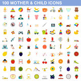 100 mother and child icons set, flat style. 100 mother and child icons set in flat style for any design vector illustration Stock Photos