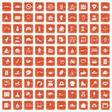 100 mother and child icons set grunge orange. 100 mother and child icons set in grunge style orange color isolated on white background vector illustration Royalty Free Stock Images