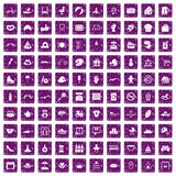 100 mother and child icons set grunge purple. 100 mother and child icons set in grunge style purple color isolated on white background vector illustration stock illustration