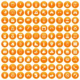 100 mother and child icons set orange. 100 mother and child icons set in orange circle isolated on white vector illustration Royalty Free Stock Image