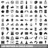 100 mother and child icons set, simple style Royalty Free Stock Photo