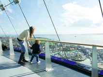 Mother and child inside the spinnaker tower Stock Photography