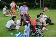 Mother and child are interactive in SHENZHEN Stock Images