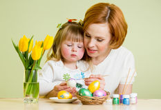 Mother and child kid paint easter eggs Royalty Free Stock Photography