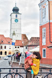 Mother and child kissing on the Liers bridge in Sibiu Stock Photo