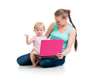 Mother and child at laptop Stock Image