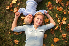 Mother with child lies royalty free stock images