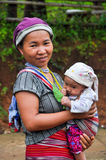 Mother and child. MAE HONG SON ,THAILAND - AUGUST 3 ; Unidentified karen ethnic woman with her infant daughter pose for photo on August 3,2011 in Mae Hong Son stock images