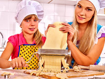 Mother and child making homemade pasta Royalty Free Stock Photo