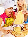 Mother and child making homemade pasta. Royalty Free Stock Image