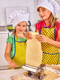 Mother and child making homemade pasta Royalty Free Stock Photography