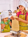 Mother and child making homemade pasta Royalty Free Stock Photos