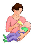 The mother and child. the milk in the  bottle. Stock Photo