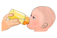 The mother and child. the milk in the  bottle. Royalty Free Stock Photo